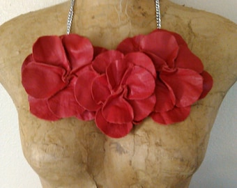 Red Leather Rosette Necklace Neckpiece pendant