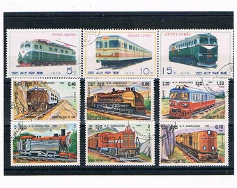 Trains on Stamps Stock Card - Locomotives, Steam Engines, Trams | used vintage retro 1970s 1980s postage stamps, fathers day cards craft etc