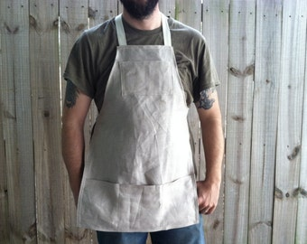 MOTHER'S DAY GIFTS, Natural Linen Utility Apron - Full Size Unisex Apron