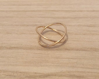 so cute ring TWIN, two rings intersected gold plated