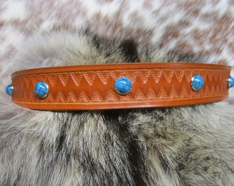 Leather Hatband, Custom Leather Hatband, Cowboy Hatband, Tooled Leather Hatband with Turquoise Dome Spots