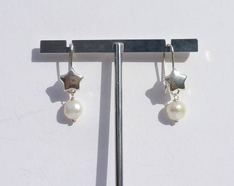 Earrings Pearl Star Silver 925 women gift cheap, made in France, mother's day gift, easy offer french silver jewelry