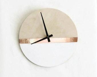 Large Modern Wall Clock, White and Copper Home Decor Zero Waste Art