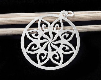 1 of 925 Sterling Silver Filigree Flower Pendant  25 mm. Brush Finished  :th2435