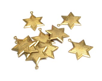 VINTAGE Brass STAR of David CHARM Pendant Stamping Hexagram 6 Pointed Raw Aged Patina Jewelry Parts Altered Art Supplies Findings