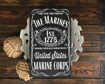 Marines decor | Jack Daniels | US Marines | US Marine Corps | US Marine gifts | Army | Navy | Marines | Air Force | Military | Military gift
