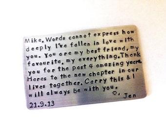 Anniversary Wallet Insert Aluminum Card - Personalized Hand Stamped Metal - Gift Husband Boyfriend 5 Year Anniversary Gift