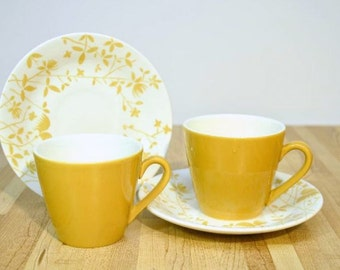 Mid Century Sheffield Golden Meadow Coffee Cup and Saucer: Set of Two Ironstone Dishwasher Safe China Dinnerware Made in the USA