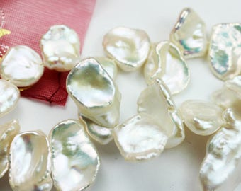 "Freshwater Pearl Strand,15*12mm White Keshi , Top drilled,15.5"", One full strand about 40 beads-PLF8149"