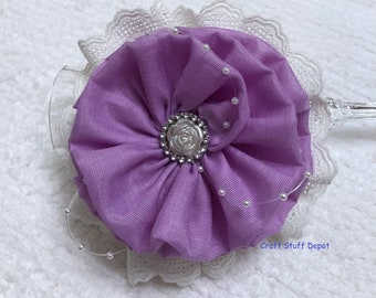 Light Purple Fabric Rosette, Large Package Topper, Floral Accessory, Home Decor, Brooch Supply, Hat Flower, Gift Bow, Gift Embellishment