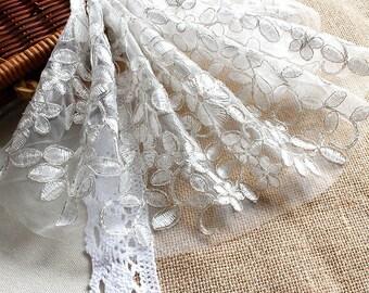 Off-white Alencon Lace Applique/Lace Wedding Dress Applique/Boho Wedding Dress/Boho Dress/Vintage Dress/Bridal applique/Prom Dress/ALA-96