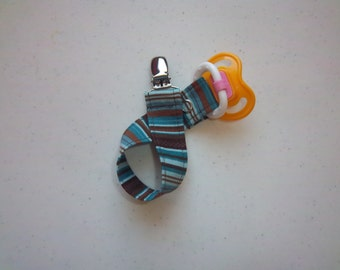 Stripes in Blue Pacifier Clip