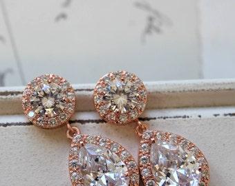 Rose Gold Crystal Teardrop Earrings , Art Deco Earrings, Vintage Style Earrings, Bridal Earrings, Wedding Earrings, Bridesmaid Earrings