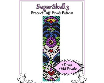 Bead Pattern Peyote(Bracelet Cuff)-Sugar Skull 3