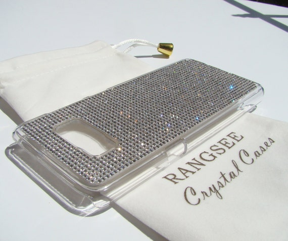 Galaxy S8 Clear Rhinestone Crystals on Transparent clear  Case. Velvet/Silk Pouch Bag Included, Genuine Rangsee Crystal Cases.