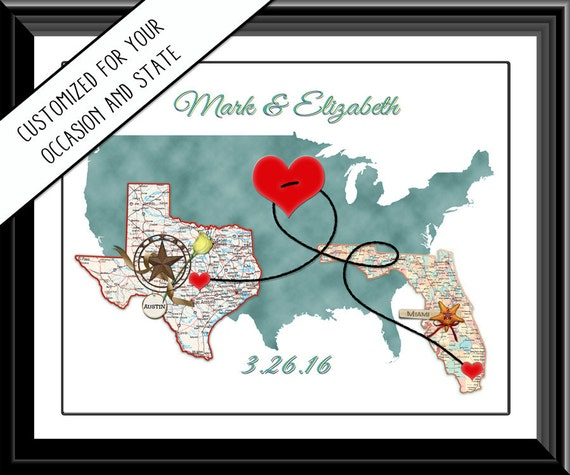 State map hearts wedding print texas florida long distance state map hearts wedding print texas florida long distance couples valentine personalized map vacation long distance love from digitalpackages on gumiabroncs Gallery