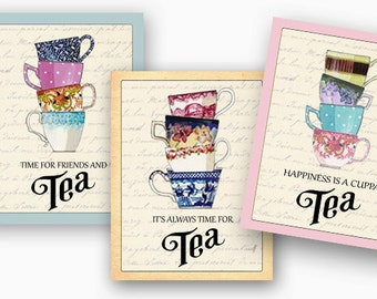 Digital tea tags, Tea Party tags, Vintage Tea, Tea cup card, Scrapbook supplies, ATC,  craft supplies, digital collage, tea party favor