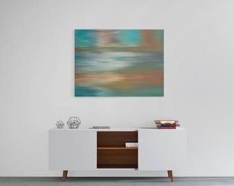 Wall Art Canvas, Wall Decor, Colorful canvas art, Brown Teal Grey abstract print, 8x10 11x14 16x20 20x30 30x40 large wall art