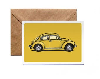 Greetings Card | VW Beetle | Personalise | Volkswagen | Bug | Classic | Vintage | Illustration