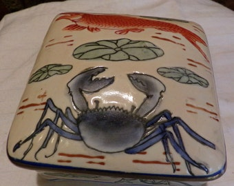 Vintage Crab & Fish Porcelain Trinket Box, Nautical trinket box, beach house trinket box, Morethebuckles