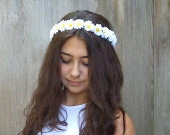 White Daisy Flower Crown, Daisy Headband, Daisy Floral Crown, EDC,  Hippie Headband, Daisy Chain, D01