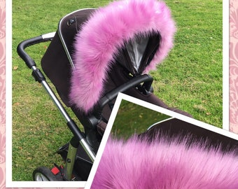 Hood Fur Trim Sugar Pink Luxury faux fur pram hood trim for all prams! FREE POSTAGE For bugaboo, icandy, stokke, silver cross, egg and more