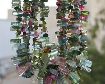 """FUN..Gem ALL Pink n Green  Watermelon Tourmaline Naturally Faceted Polished Crystal  Stick Point Briolettes Focal set 4"""" strand"""