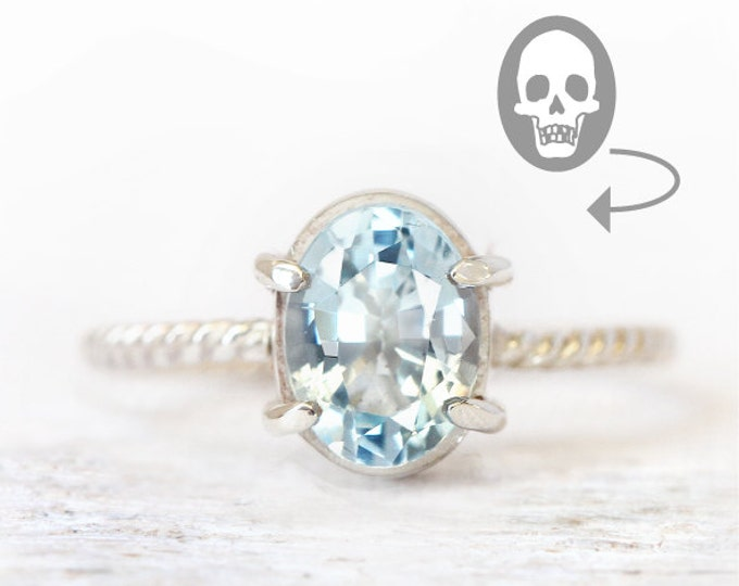Memento mori ring - all sizes - sky blu topaz, silver 925 - historical jewelry - birthstone november