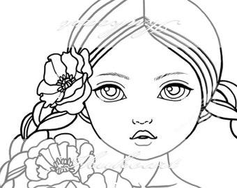 Line Art Digital Stamp Image Adult Coloring Page Printable Instant Download - Mermaid Girl