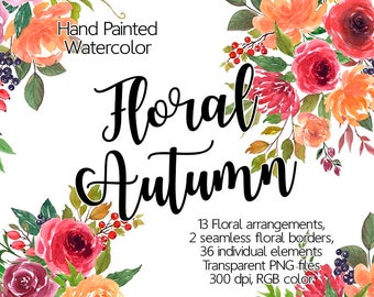 Watercolor Flower Clipart - Autumn, Printable flowers, Autumn floral clipart, Watercolor flowers clipart, Floral border,for planner stickers
