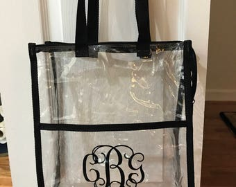 clear stadium bag with zipper and outer pocket monogrammed or not
