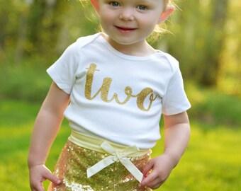 Second Birthday Shirt Second Birthday Shirt Baby Girl Birthday Two Girl Birthday Gold Two Shirt Girl Second Birthday Gold Glitter Shirt 103
