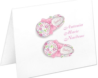 Personalized Baby Girl Stationery, Baby Shoes, Baby Note Cards, Baby Girl Stationery, Baby Thank You Cards, Baby Shower Gift, Baby Notecards