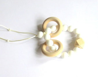 Silicone and wood bead Rattle Teether/toy