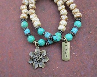 Boho Hippie Turquoise and Bone Charm Bracelets - Flower Charm and DREAM Charm Bracelets