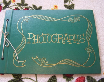Unused Scrapbook, 40s-50s Photograph Album, Black Pages, Green Cover