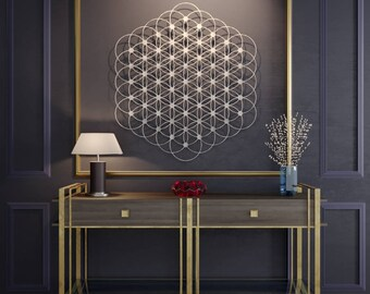 Flower of Life Metal Wall Art, Sacred Geometry, Metal Wall Decor, Large Metal Wall Art, Metal Wall Sculpture, Yoga Art, Mandala, Silver Art