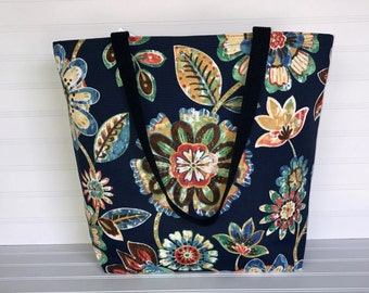 Blue Multicolored Floral Tote | Handmade Everyday Tote | Market Bag