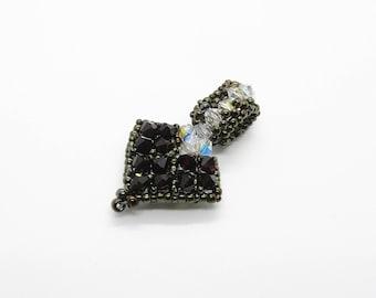 Crystal Beaded Heart Pendant Dark Red - Prima Donna Beads