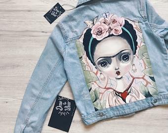 Denim jacket with handmade print Frida Kahlo Size S,M