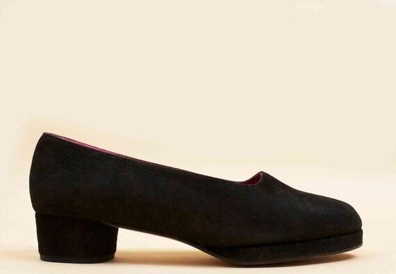 MOD 80s Slip On 37 90s Baby Charles 5 SUEDE Circular Minimalist 6 Leather Platform Doll Eu Ballerina Jourdan Black Heels Vtg BZqxrgwAB