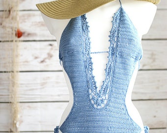 Boho Monokini swimsuit, Crochet monokini, Sexy monokini, One piece swimsuit, High waisted bikini, Low back swimsuit bikini, Crochet swimsuit