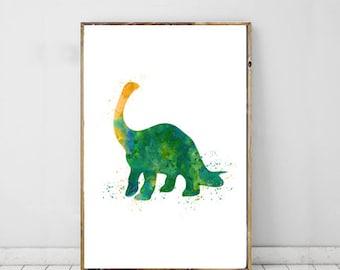 Apatosaurus Watercolor Nursery Print, Kids Wall Art, Digital Download, Dinosaur Print
