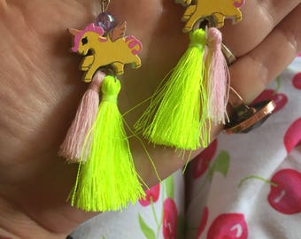 Yellow upcycled wooden unicorns with fluro yellow & pink tassels earrings