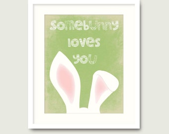green nursery bunny print download somebunny loves you kids room wall art decor poster digital print card jpg printable instant download pdf