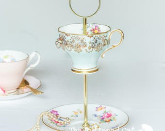 Teacup jewelry stand Etsy