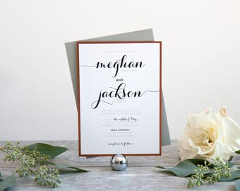 Modern Script Wedding Invitation, Deposit to Get Started