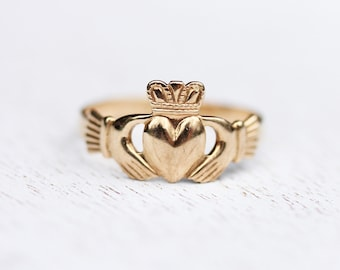 Claddagh Ring Gold, 14K Gold Claddagh Ring, irische Claddagh Ring, Jahrgang Claddagh Ring, Gold Herz-Ring, 14K Gold Ring, Ring Größe 6,5