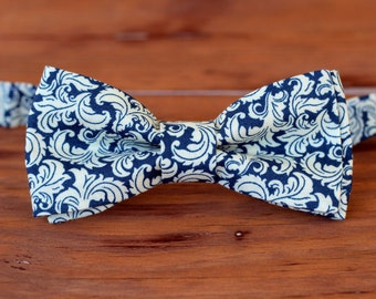 Boys navy blue bow tie - boy's ivory floral bowtie - navy blue bow tie - cream bow tie - boys wedding bow tie - blue ring bearer bow ties