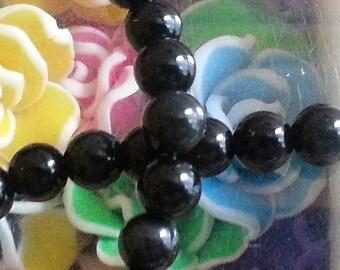 10 pearls d ' Obsidian 6 mm diameter, hole 1 mm